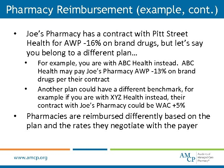 Pharmacy Reimbursement (example, cont. ) • Joe's Pharmacy has a contract with Pitt Street