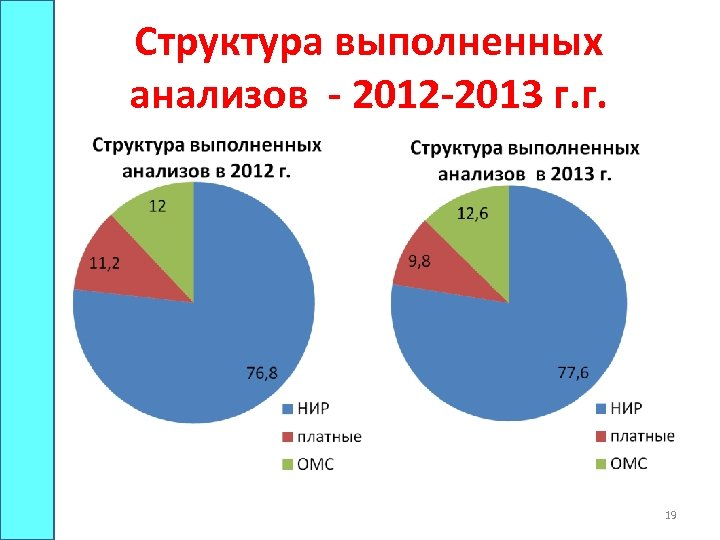 Структура выполненных анализов - 2012 -2013 г. г. 19