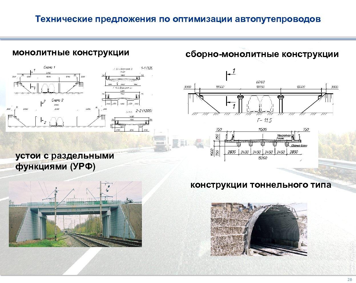 Технические предложения по оптимизации автопутепроводов монолитные конструкции сборно-монолитные конструкции 1 2 устои с раздельными