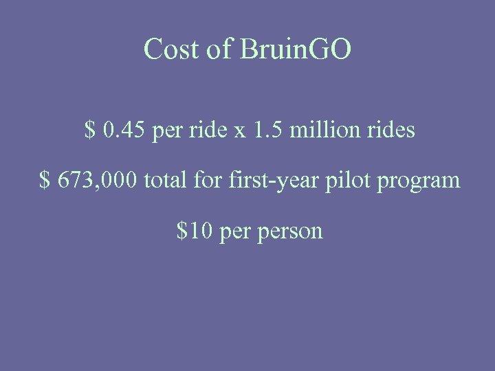 Cost of Bruin. GO $ 0. 45 per ride x 1. 5 million rides