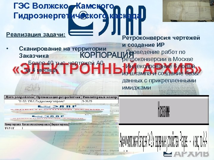 ГЭС Волжско - Камского Гидроэнергетического каскада Реализация задачи: • Сканирование на территории Заказчика -