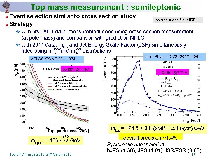 Top mass measurement : semileptonic Event selection similar to cross section study Strategy contributions