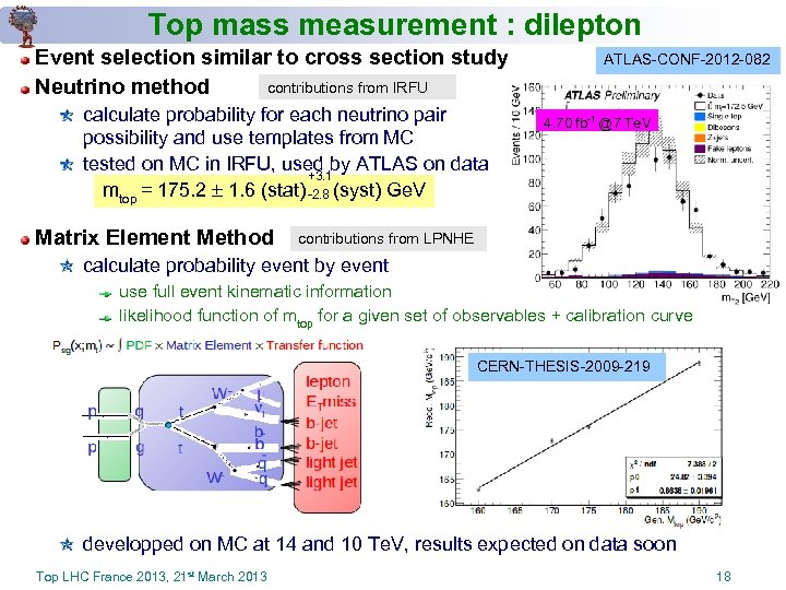 Top mass measurement : dilepton Event selection similar to cross section study contributions from