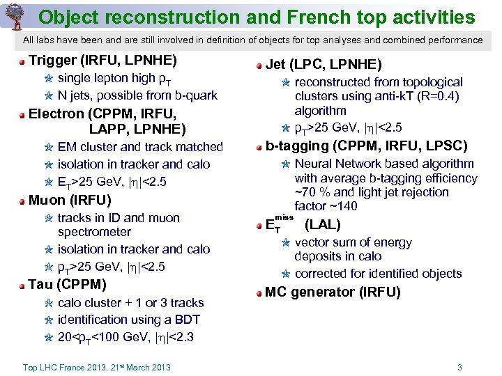 Object reconstruction and French top activities All labs have been and are still involved
