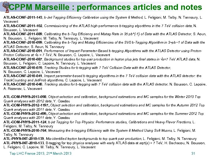 CPPM Marseille : performances articles and notes ATLAS-CONF-2011 -143, b-Jet Tagging Efficiency Calibration using