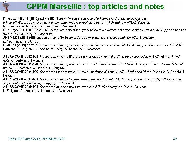 CPPM Marseille : top articles and notes Phys. Lett. B 718 (2013) 1284 -1302,