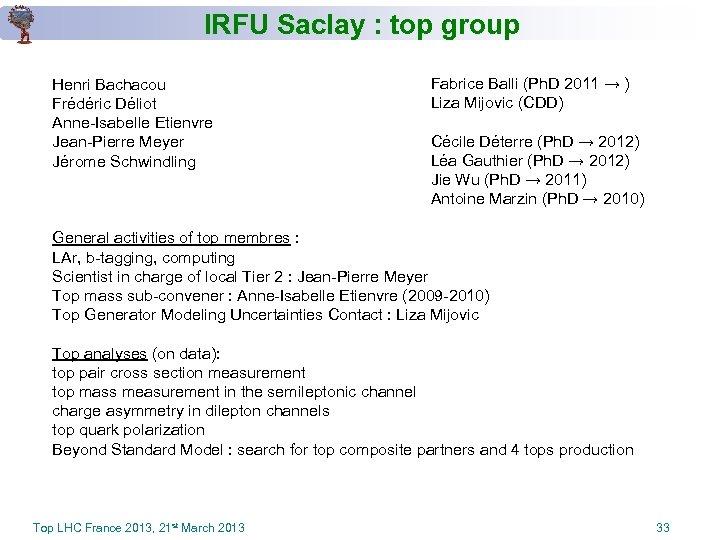 IRFU Saclay : top group Henri Bachacou Frédéric Déliot Anne-Isabelle Etienvre Jean-Pierre Meyer Jérome