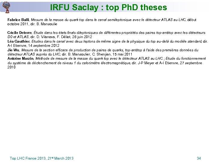 IRFU Saclay : top Ph. D theses Fabrice Balli, Mesure de la masse du
