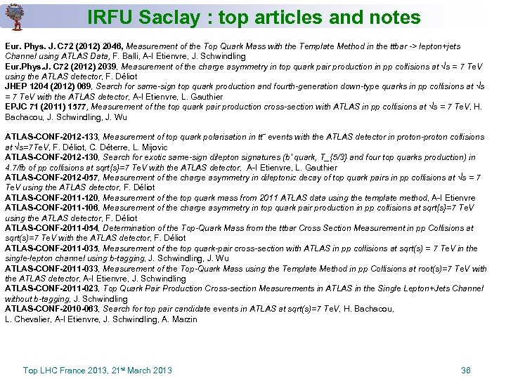 IRFU Saclay : top articles and notes Eur. Phys. J. C 72 (2012) 2046,
