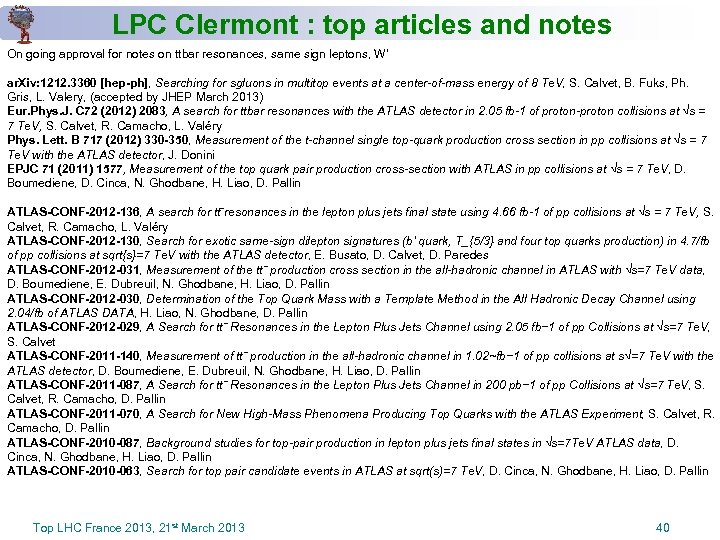 LPC Clermont : top articles and notes On going approval for notes on ttbar