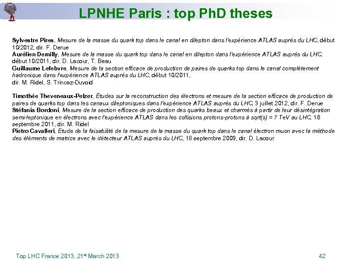 LPNHE Paris : top Ph. D theses Sylvestre Pires, Mesure de la masse du