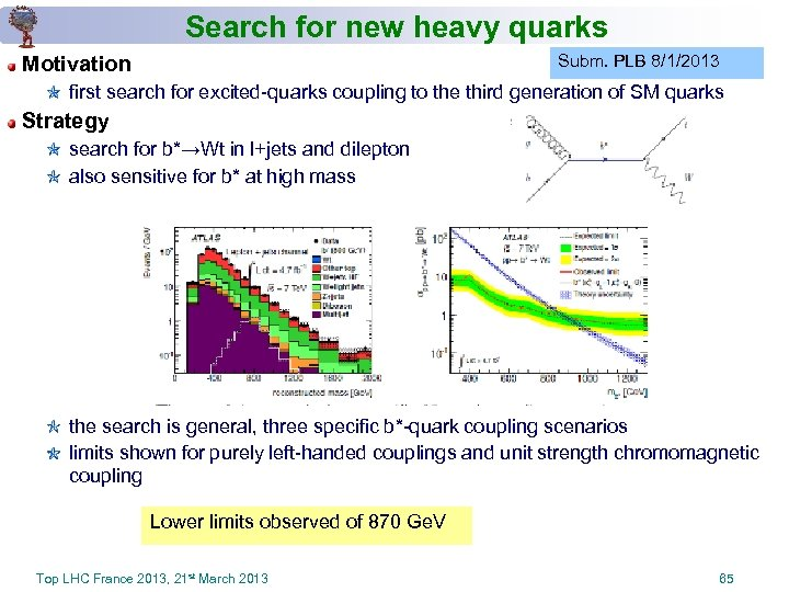 Search for new heavy quarks Subm. PLB 8/1/2013 Motivation first search for excited-quarks coupling