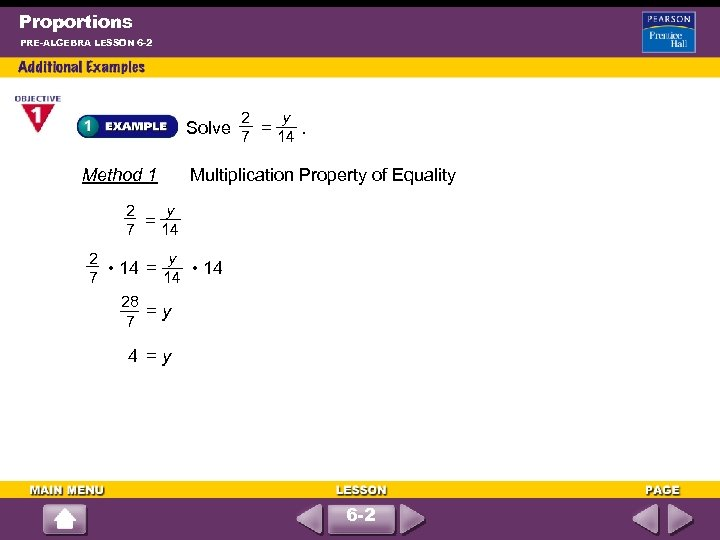 Proportions PRE-ALGEBRA LESSON 6 -2 2 y Solve = . 7 14 Method 1