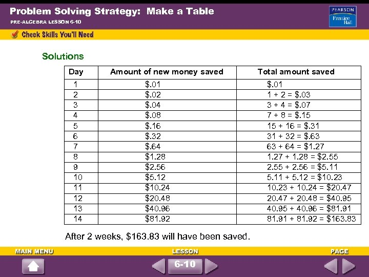 Problem Solving Strategy: Make a Table PRE-ALGEBRA LESSON 6 -10 Solutions Day 1 2