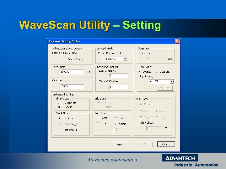 Wave. Scan Utility – Setting