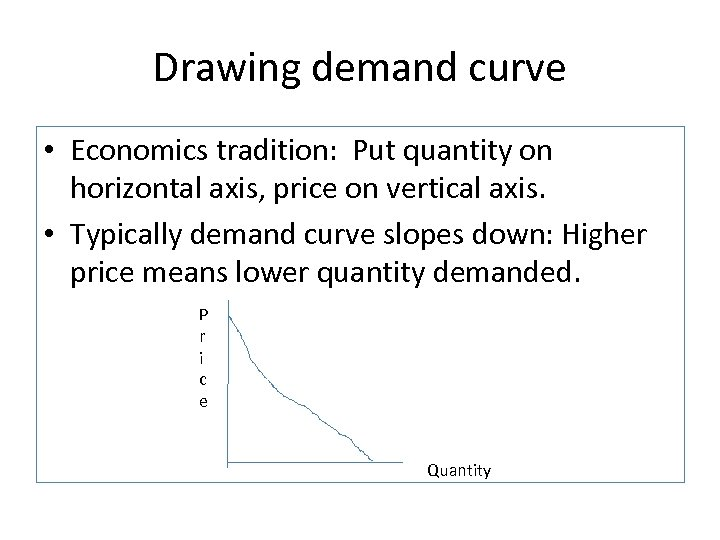 Drawing demand curve • Economics tradition: Put quantity on horizontal axis, price on vertical
