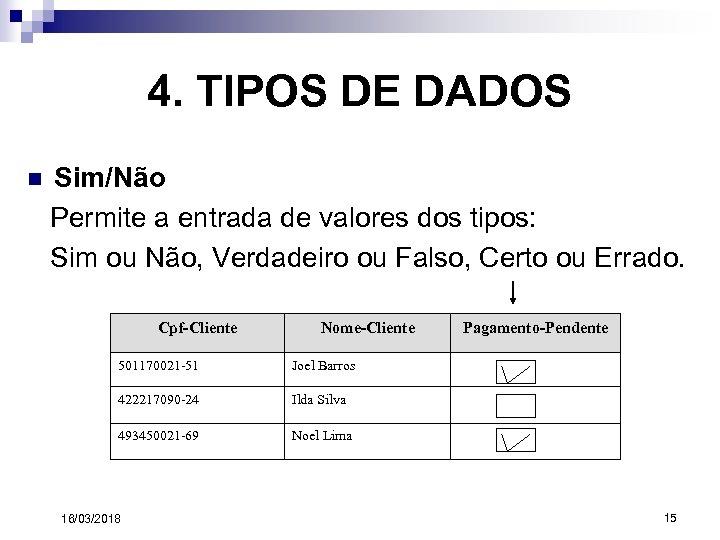 4. TIPOS DE DADOS n Sim/Não Permite a entrada de valores dos tipos: Sim
