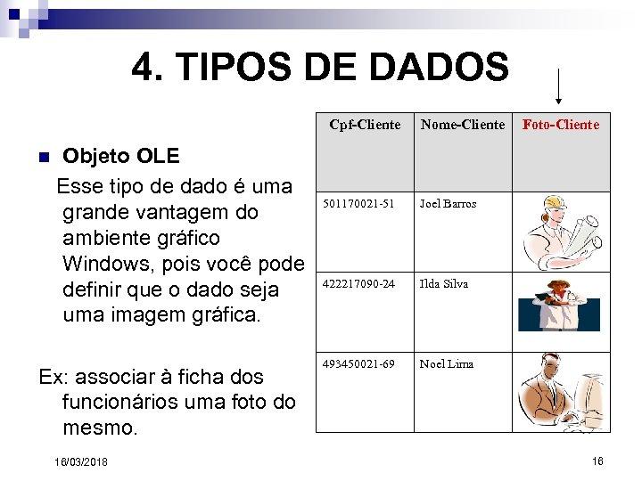 4. TIPOS DE DADOS Cpf-Cliente n Objeto OLE Esse tipo de dado é uma