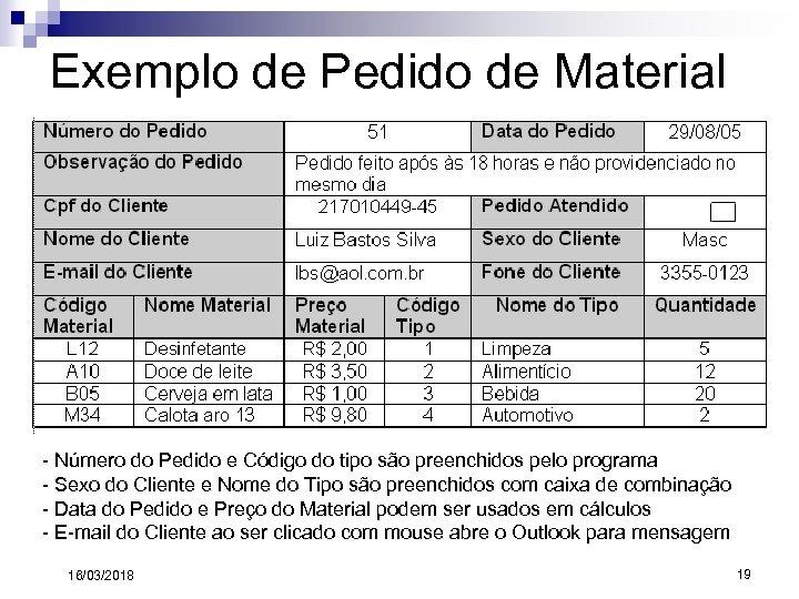 Exemplo de Pedido de Material - Número do Pedido e Código do tipo são