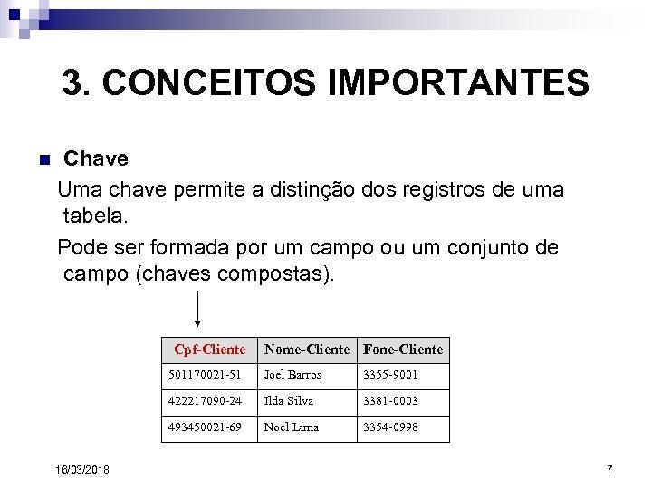 3. CONCEITOS IMPORTANTES n Chave Uma chave permite a distinção dos registros de uma