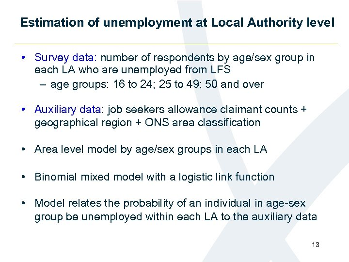 Estimation of unemployment at Local Authority level • Survey data: number of respondents by