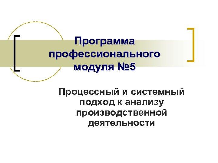 Программа профессионального модуля № 5 Процессный и системный подход к анализу производственной деятельности