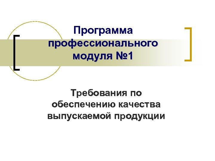 Программа профессионального модуля № 1 Требования по обеспечению качества выпускаемой продукции