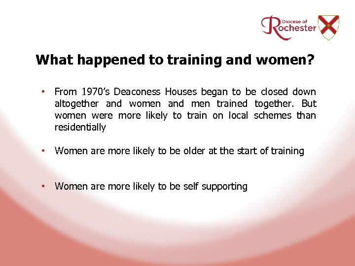 What happened to training and women? • From 1970's Deaconess Houses began to be