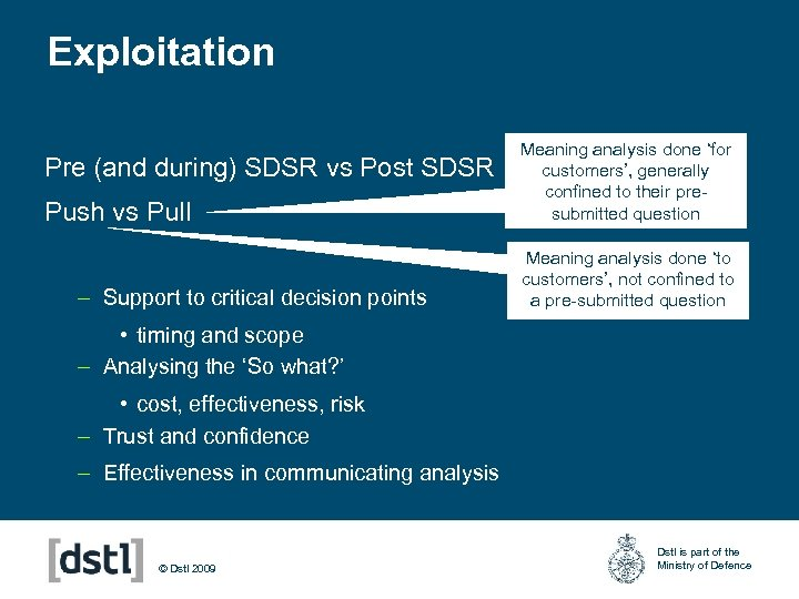 Exploitation Pre (and during) SDSR vs Post SDSR Push vs Pull – Support to