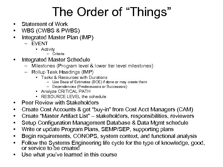 """The Order of """"Things"""" • • • Statement of Work WBS (CWBS & PWBS)"""