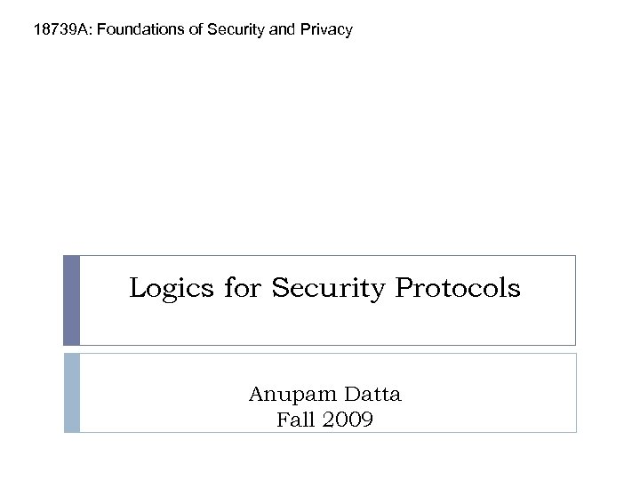 18739 A: Foundations of Security and Privacy Logics for Security Protocols Anupam Datta Fall