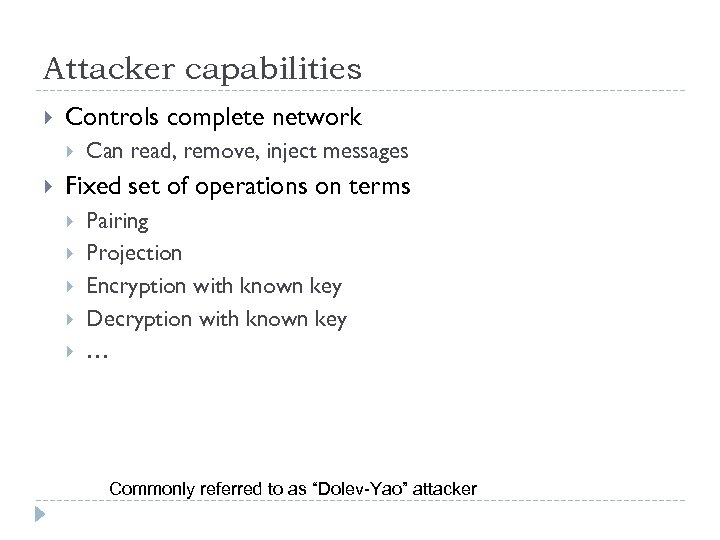 Attacker capabilities Controls complete network Can read, remove, inject messages Fixed set of operations