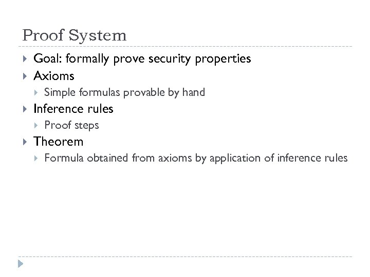 Proof System Goal: formally prove security properties Axioms Inference rules Simple formulas provable by