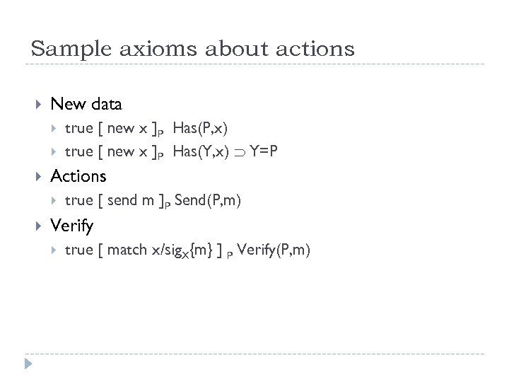 Sample axioms about actions New data Actions true [ new x ]P Has(P, x)