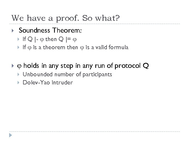 We have a proof. So what? Soundness Theorem: If Q |- then Q |=