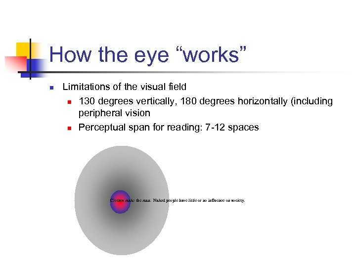 """How the eye """"works"""" n Limitations of the visual field n 130 degrees vertically,"""