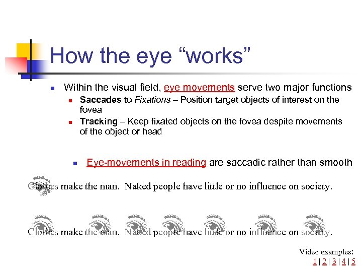 """How the eye """"works"""" n Within the visual field, eye movements serve two major"""