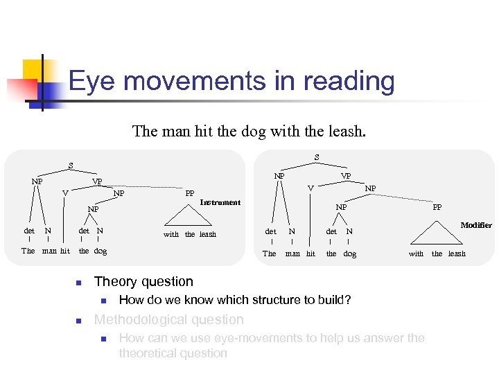 Eye movements in reading The man hit the dog with the leash. S S
