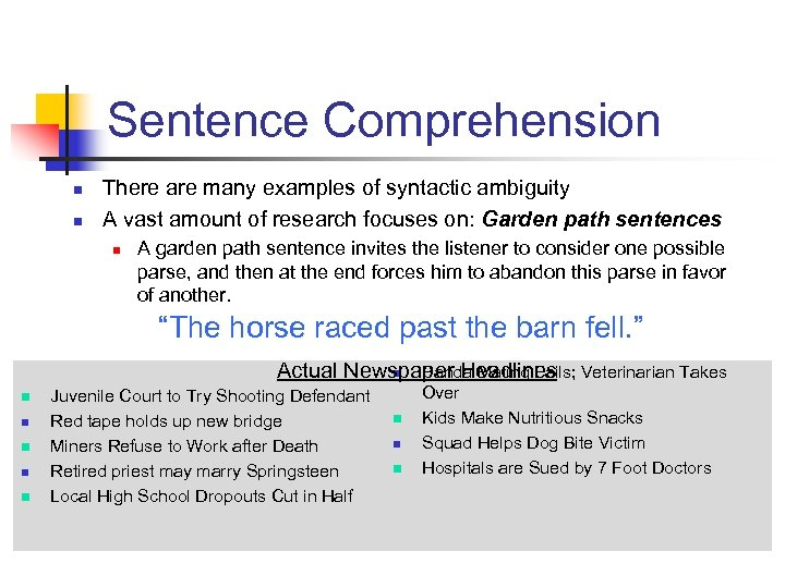 Sentence Comprehension n n There are many examples of syntactic ambiguity A vast amount