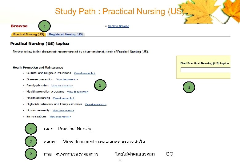 Study Path : Practical Nursing (US) 1 2 1 เลอก Practical Nursing 2 คลกท