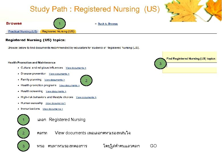 Study Path : Registered Nursing (US) 1 3 2 1 เลอก Registered Nursing 2