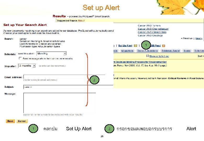 Set up Alert 1 2 1 คลกปม Set Up Alert 2 28 กรอกขอมลเพอบอกรบบรการ Alert