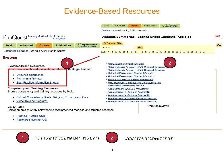 Evidence-Based Resources 2 1 1 คลกเลอกหวขอทตองการสบคน 2 8 เลอกบทความทตองการ