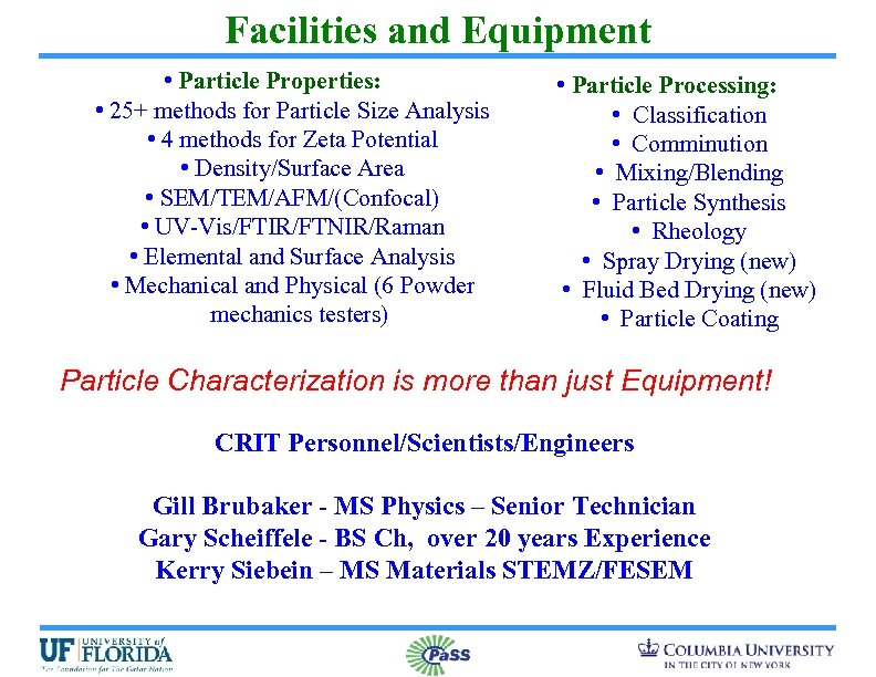 Facilities and Equipment • Particle Properties: • 25+ methods for Particle Size Analysis •