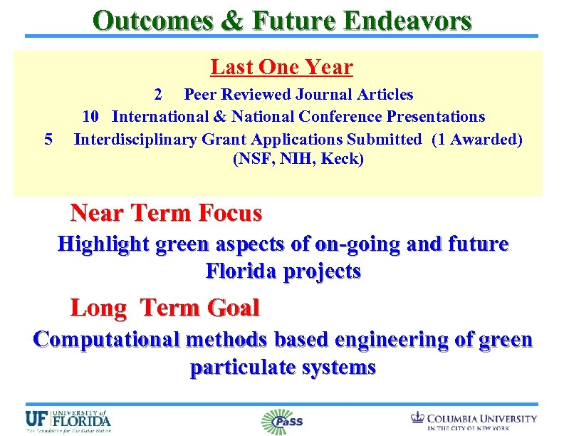 Outcomes & Future Endeavors Last One Year 5 2 Peer Reviewed Journal Articles 10
