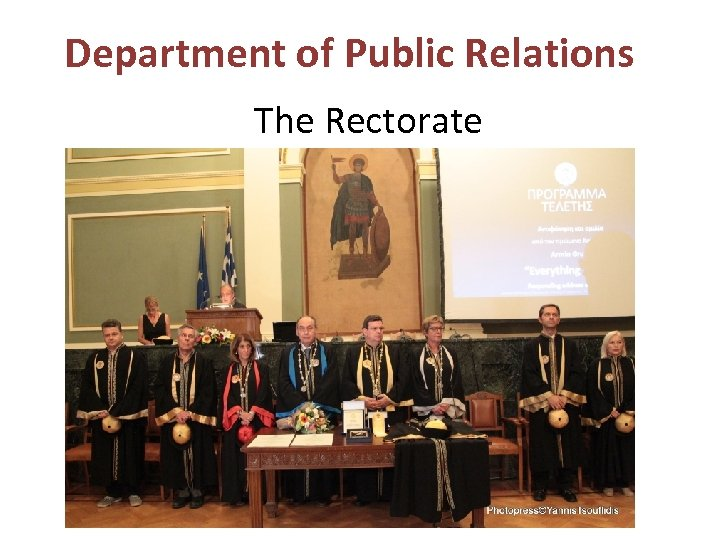 Department of Public Relations The Rectorate