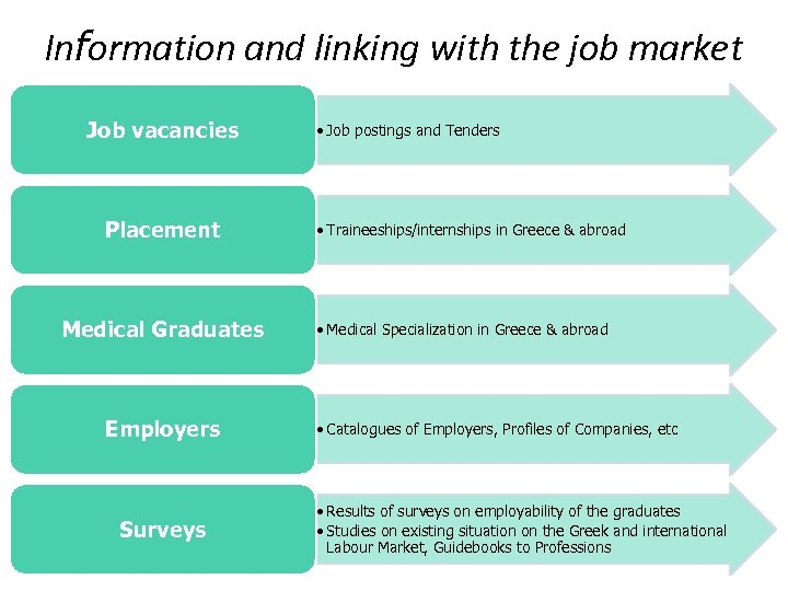 Information and linking with the job market Job vacancies Placement Medical Graduates Employers Surveys