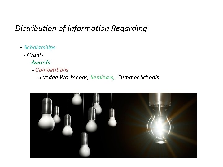 Distribution of Information Regarding - Scholarships - Grants - Awards - Competitions - Funded