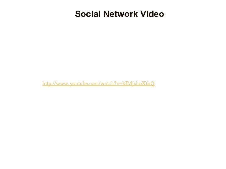 Social Network Video http: //www. youtube. com/watch? v=k. IMjsho. X 6 r. Q