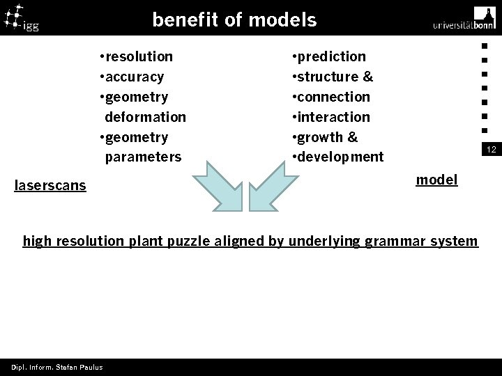 benefit of models • resolution • accuracy • geometry deformation • geometry parameters laserscans